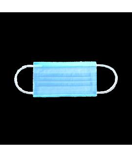 Маска трехслойная на резинках 50 шт голубые