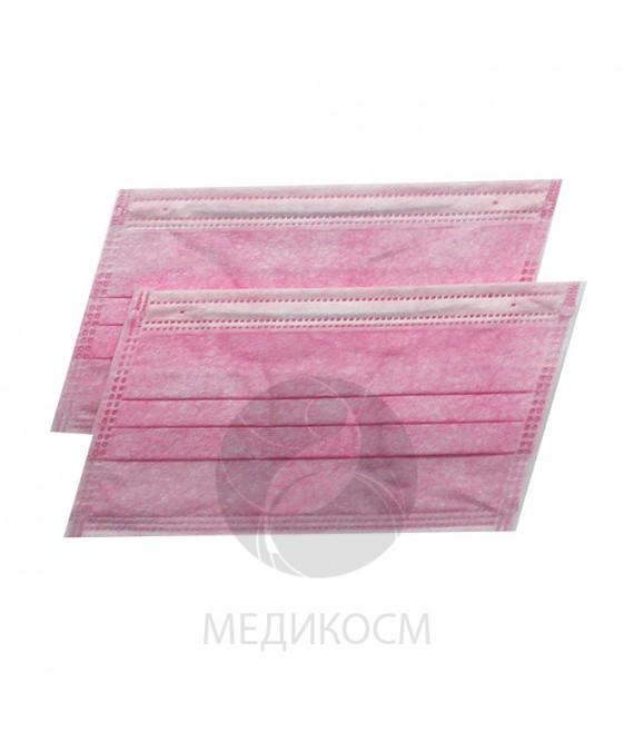Маски трехслойные розовые 50 штМаски трехслойные розовые 50 шт
