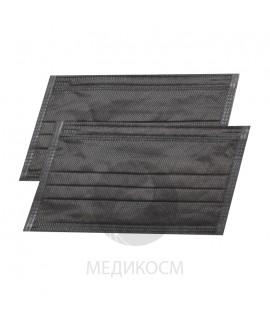 Маски трехслойные черные 50 шт