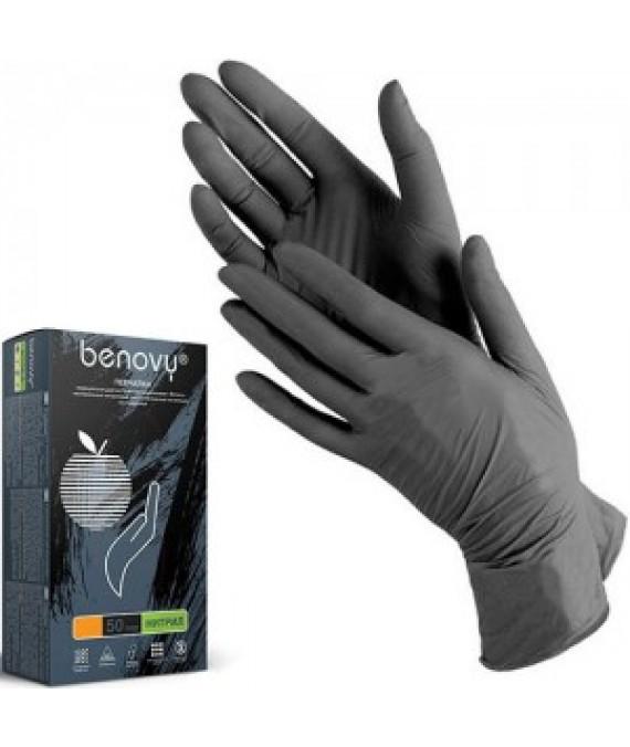 Перчатки Benovi нитриловые неопудренные размер S черные  100 шт