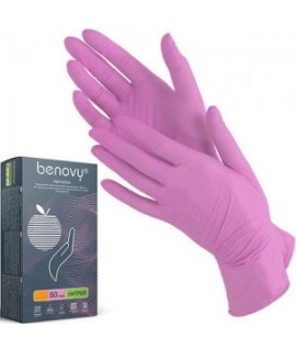 Перчатки Benovy нитриловые неопудренные размер М розовые 100 шт